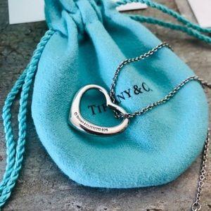 Tiffany & co open heart else peretti necklace